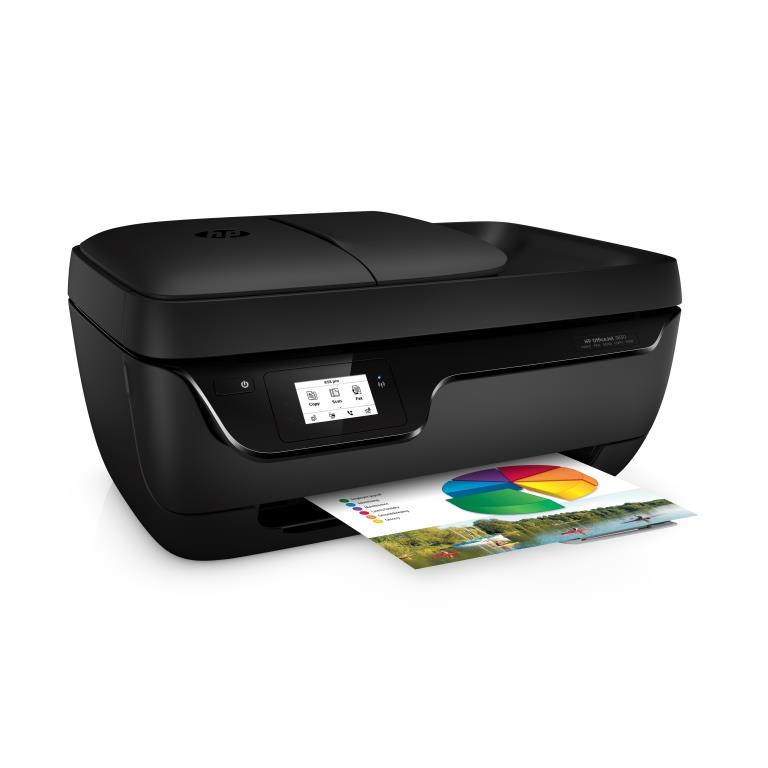 HP Officejet 3830 All-in-One Printer, Right facing, with output