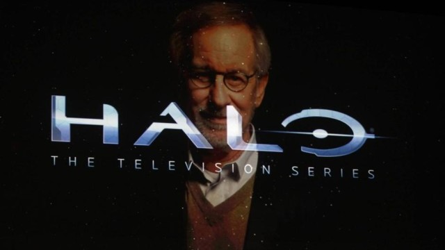 Director Steven Spielberg is shown on screen discussing his partnership on Halo the television Series during the Xbox One launch unveiling Microsoft's new Xbox in Redmond