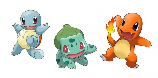 Charmander, Bulbasaur e Squirtle