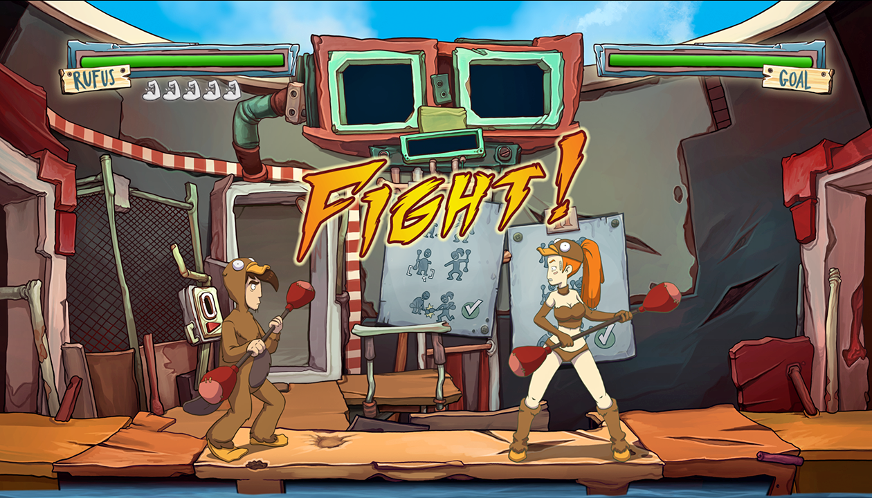 Caos a Deponia - fight
