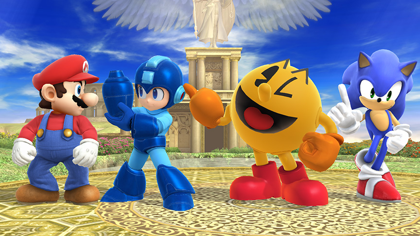 mario__sonic__mega_man_and_pac_man_in_smash_bros__Smash 4