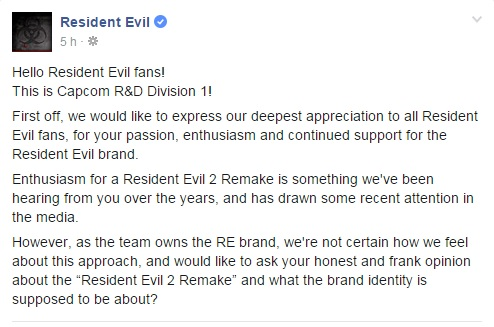 Capcom RE2 Remake Facebook Post