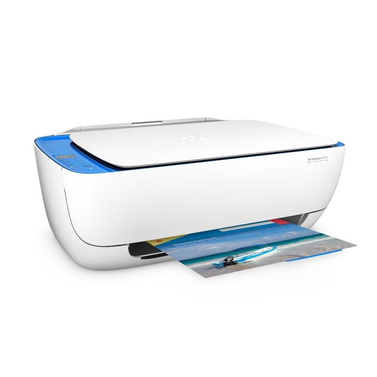 HP Deskjet 3630 All-in-One Printer, Right facing, with output