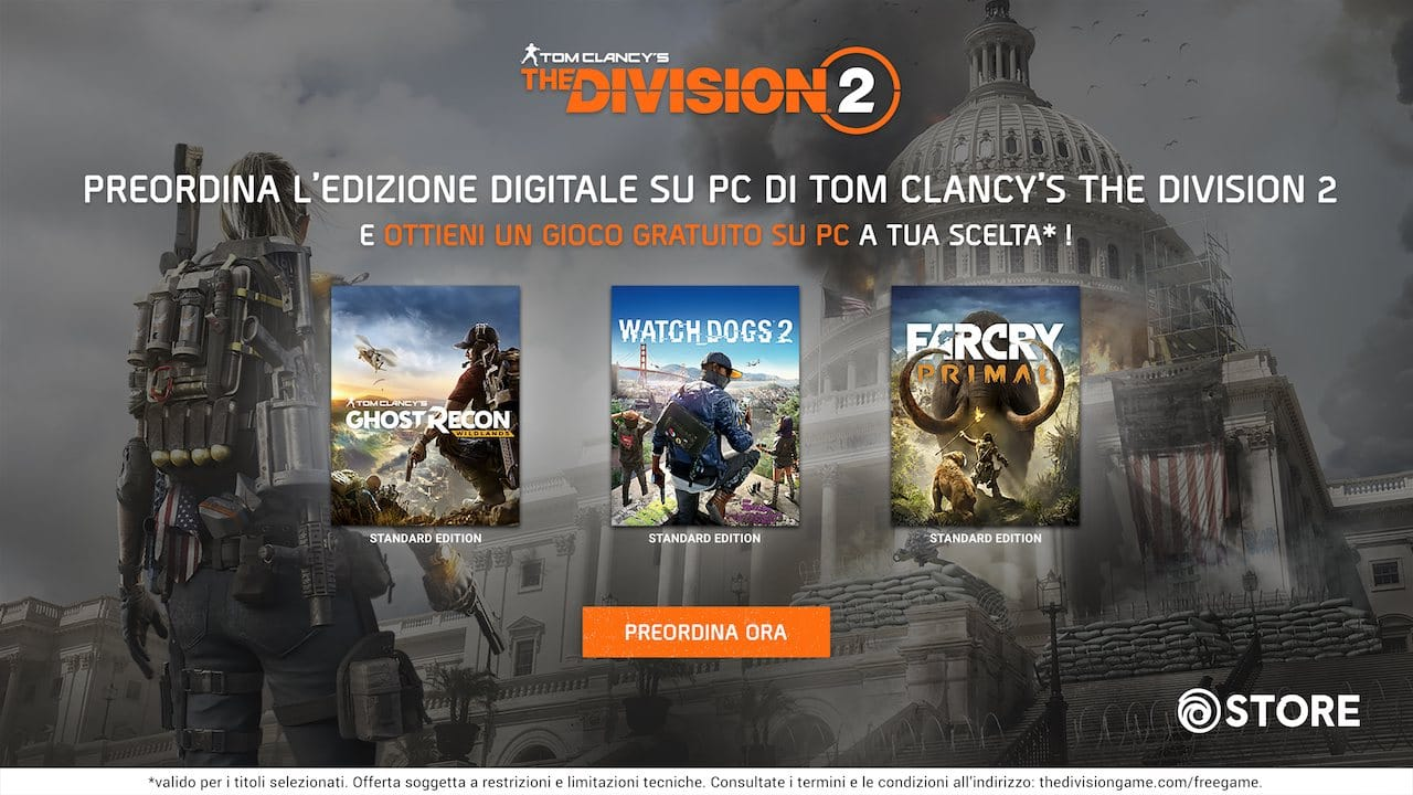 Photo of Tom Clancy's The Division 2: prenotando il titolo, in omaggio un altro gioco Ubisoft